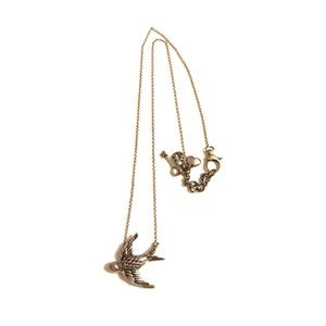 Fossil Silver SPARROW Charm Necklace